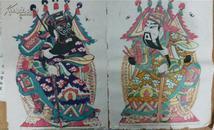 七、八十年代凤翔木刻木版年画版画*大门神一对*每张54*39cm