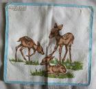 三只棕色小鹿图案手帕(漂亮!)