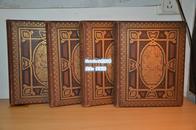《英国古典庄园彩色版画集》19世纪伦敦出版,1、2、3、4卷合售,缺5、6卷,三面刷金,精装 现货包邮