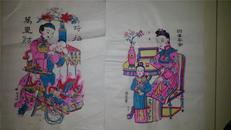 杨家埠木版年画版画大全之076、077*四季平安、时招万里财两张