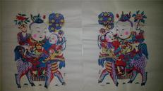 杨家埠木版年画版画大全之078、079*兰房生贵子、桂阁产麒麟一对