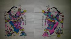 杨家埠木版年画版画大全之080、081*招财童子至、利市仙官来一对