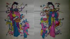 杨家埠木版年画版画大全之082、083*鹿鹤同春一对