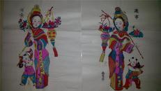 杨家埠木版年画版画大全之088、089*连年有余一对