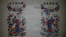 杨家埠木版年画版画大全之104、105*云霞成异色、梅柳动春风一对