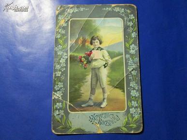 少年拿破仑--实寄明信片【近百年的明信片】孤品