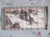 当代画家 邵戈 80年代 画 山水 国画一幅 尺寸50*100厘米 裱工品差