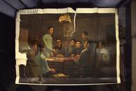 巨幅文革宣传画 人民美术出版社 76年1版1印 周树桥油画《湖南共产主义小组》毛泽东像 巨幅彩图 72X100CM    B17