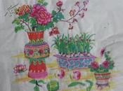 70一80年代武强木版年画版画*盆景花瓶一对未裁