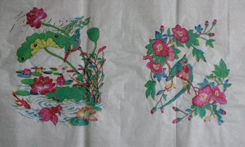 70一80年代武强木版年画版画*花鸟图1一对未裁开