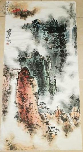 刘宝纯 绘 大幅山水画     135×67厘米
