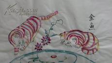 70一80年代武强木版年画版画*猫戏金鱼