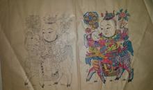 老版木刻木版年画版画*兰房生贵子色稿线稿两张未裁开*值得收藏