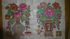 武强经典老版82年印木刻木版年画版画*四季平安、花开富贵一对*带厂名和出版号