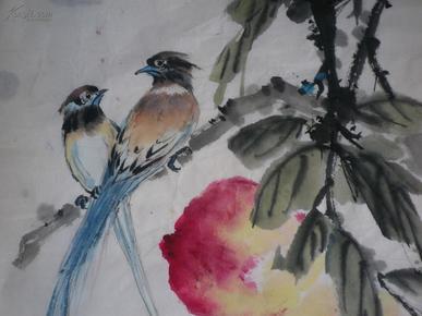 宣纸水墨画   鸟果图  69x34