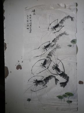 宣纸水墨画     虾画