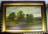 乔治·科尔 1873年油画,林溪小憩,英国19世纪名画家George Cole/装裱镶框
