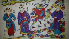 值得收藏*清版80年代印木刻木版年画版画*七月七*
