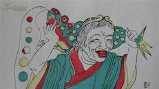 凤翔清版70年代印木刻木版年画版画*刘海戏金蟾一对*加厚纸