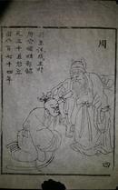 名家早期老木刻木版年画版画*历代帝王图之周朝*值得收藏