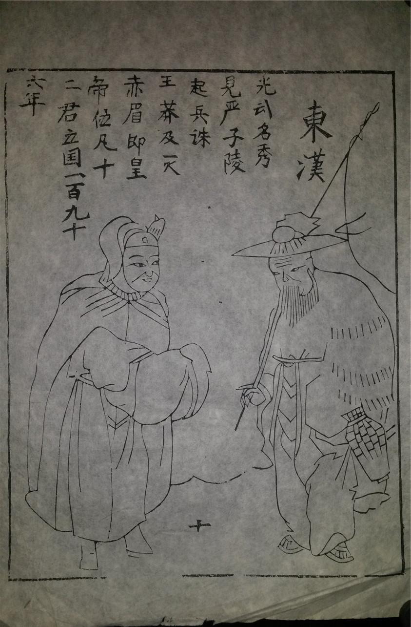 名家早期老木刻木版年画版画*历代帝王图之东汉*值得收藏