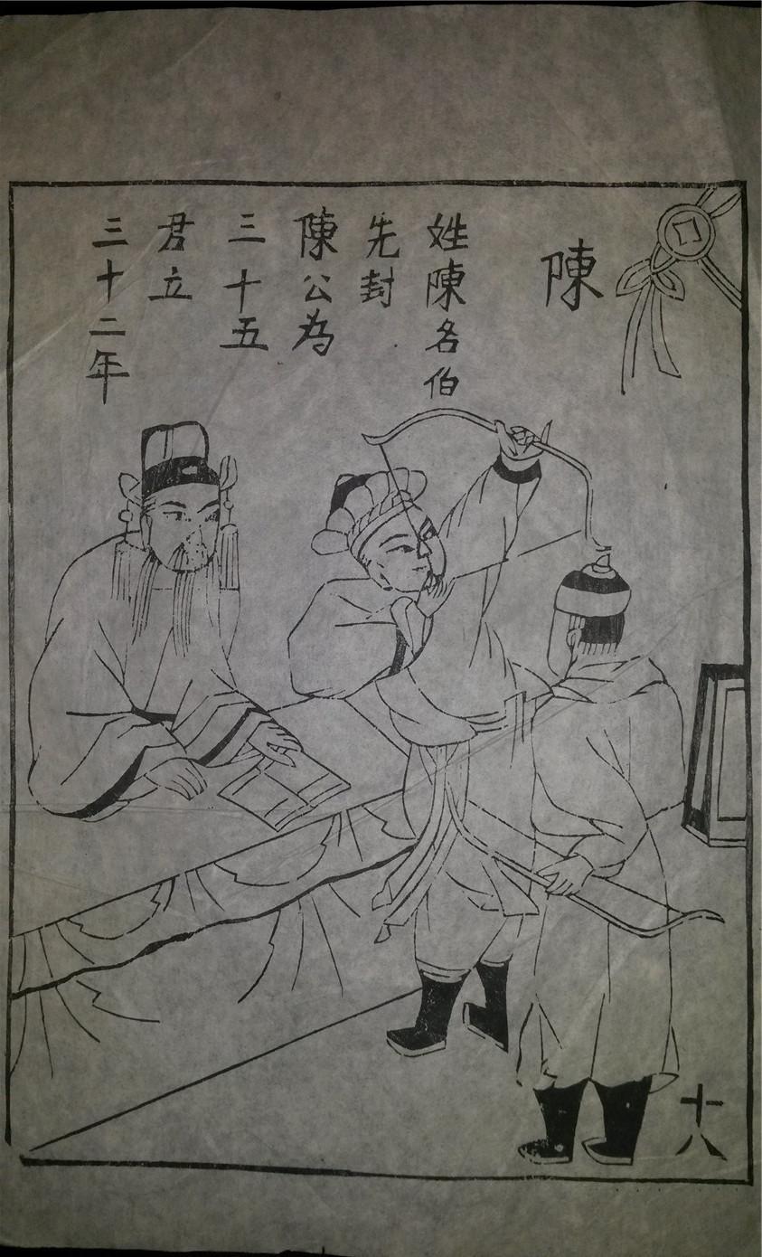 名家早期老木刻木版年画版画*历代帝王图之陈朝*值得收藏