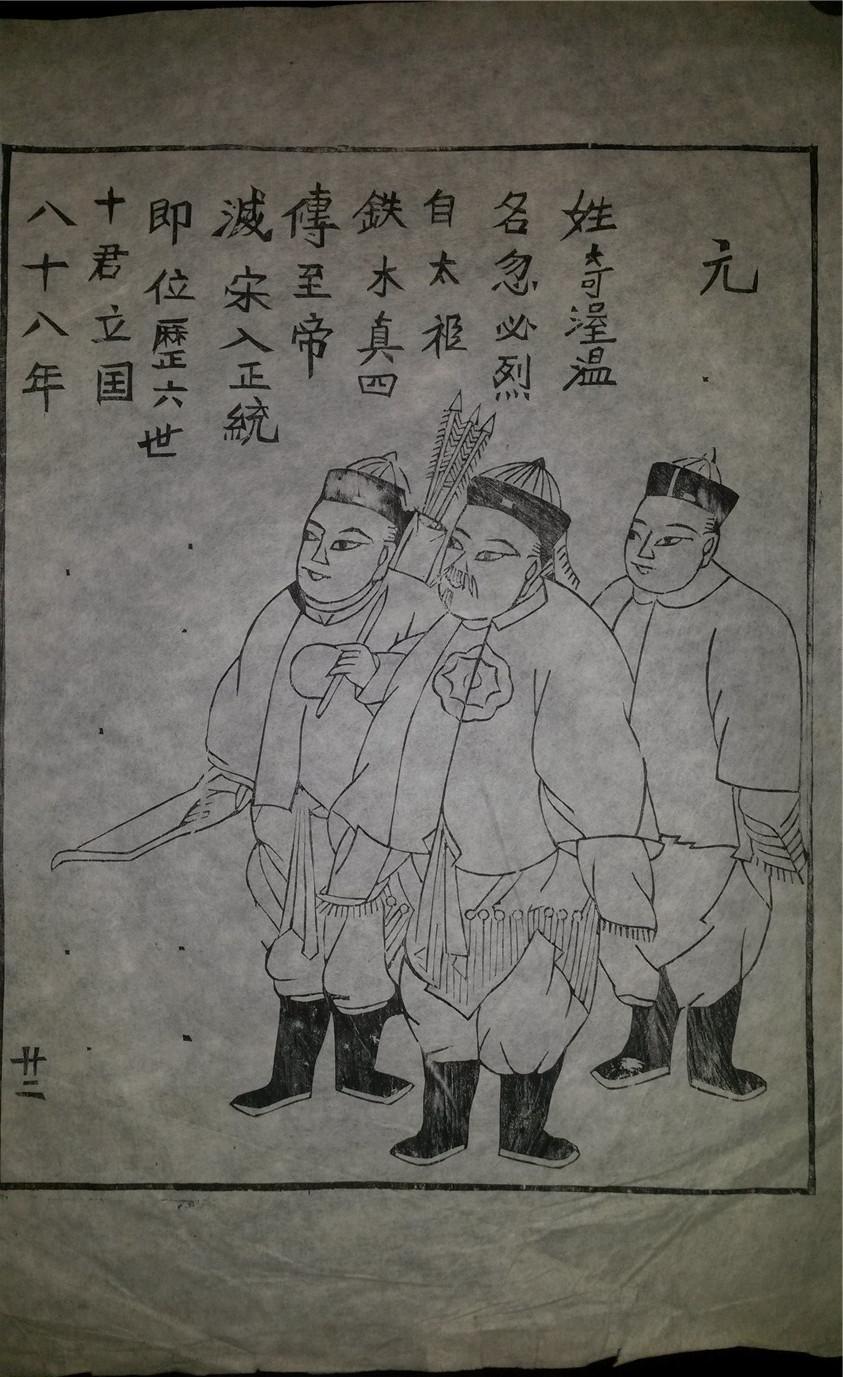 名家早期老木刻木版年画版画*历代帝王图之元朝*值得收藏