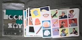 英看图识字(一)语识字卡片 袋装 经典彩绘32张全 79年一版一印(14号箱)