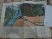 青城山游览图(另面都江堰游览图 均手绘) 4开 都江堰电话号码三位数年代印制/均手绘
