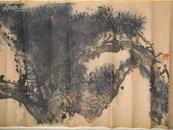 上海中国画院画师,著名花鸟画家乔木原装原裱《松柏长春图》早期精品【保真