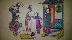 清代版20年前手抄纸印木刻木版年画版画*韩湘子成仙*45*30cm