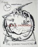 """意大利艺术家""""Albertto Martini""""蚀刻人体藏书票——《恶魔与裸女》  签名"""