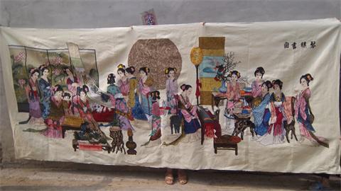 人工手绣大型十字绣【琴棋书画】未裱.尺寸.长3.3米宽1.45米保人工绣