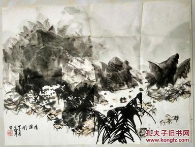 中国美术家协会会员张济平绘国画  清溪图      68×51厘米