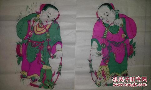 *稀见高密八十年代印清代原版木版年画版画*刘海戏金蟾一对