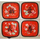 清代   四个绸缎面料刺绣    长寿柏叶 (单个长13.5cm宽14.5cm)