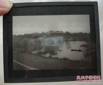 清末民国老照片,老扬州瘦西湖著名景点五亭桥,玻璃底片一张