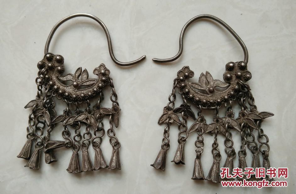 特价清代老银器银饰耳环一对包老全品稀少月亮弯
