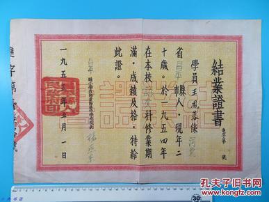 1955年5月1日 昌平县小学教师业余进修学校 颁发结业证书一大张(学员王凤蓉)少见  015