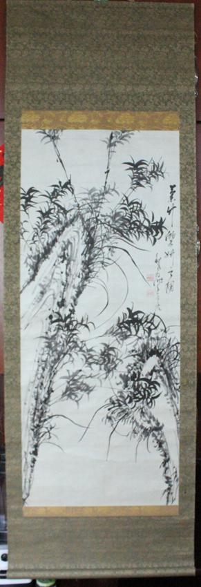 【清代】铁翁--兰竹双妍图---原装旧裱