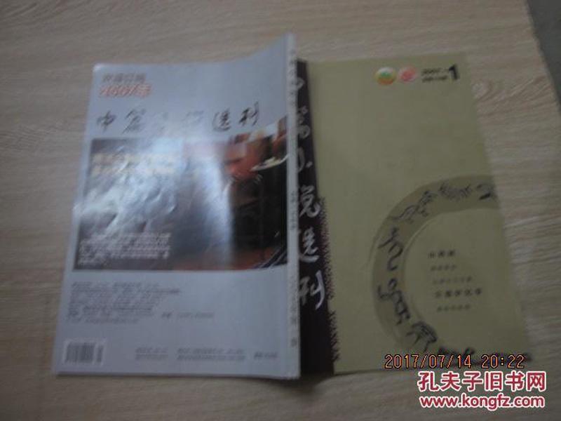 中篇小说选刊2007  1