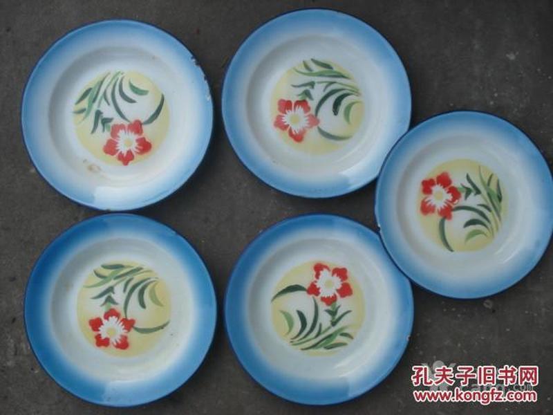 70年代花卉搪瓷盘5个