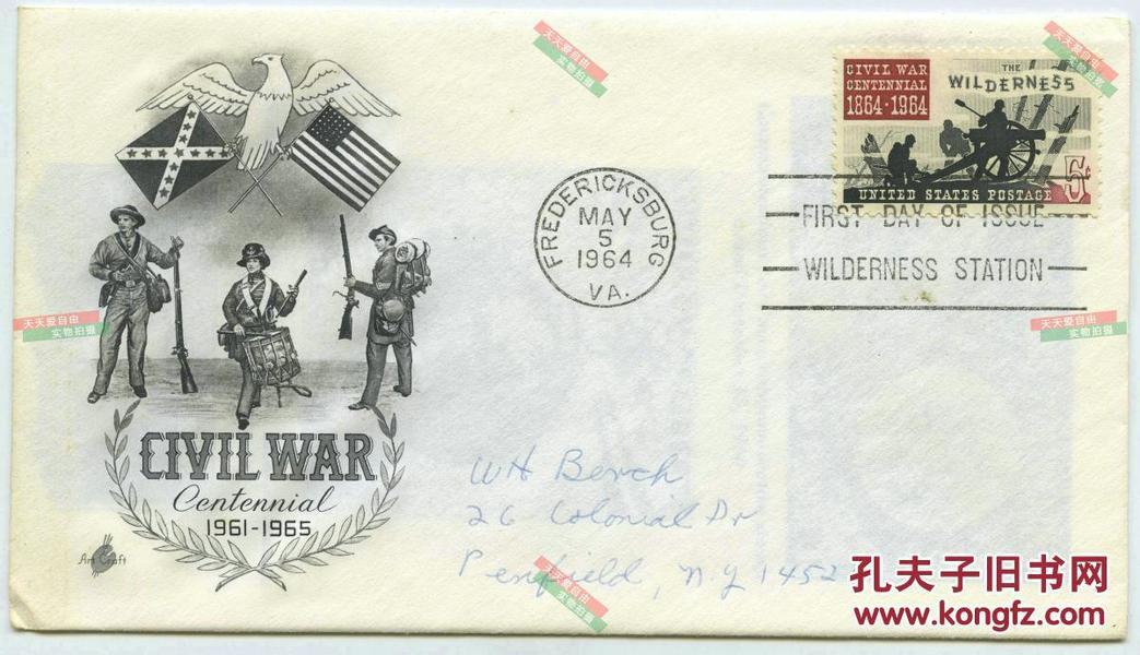 1964年美国内战南北战争100周年纪念首日实寄封一枚