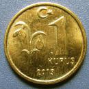 土耳其硬币1里拉--早期外国硬币、钱币甩卖--实拍--保真,