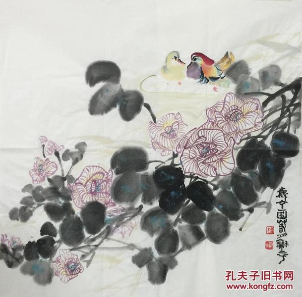 【保真】、〖杨和平〗当代知名艺术家、张大千大师再传弟子、中国国画家协会会员、 中国书法家协会山西分会会员、手绘四尺斗方花鸟(68*68cm)。