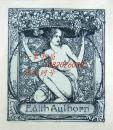 """""""德国20世纪初期着名艺术家""""(Hans Volkert)蚀刻早期藏书票——《葡萄园的裸女》"""