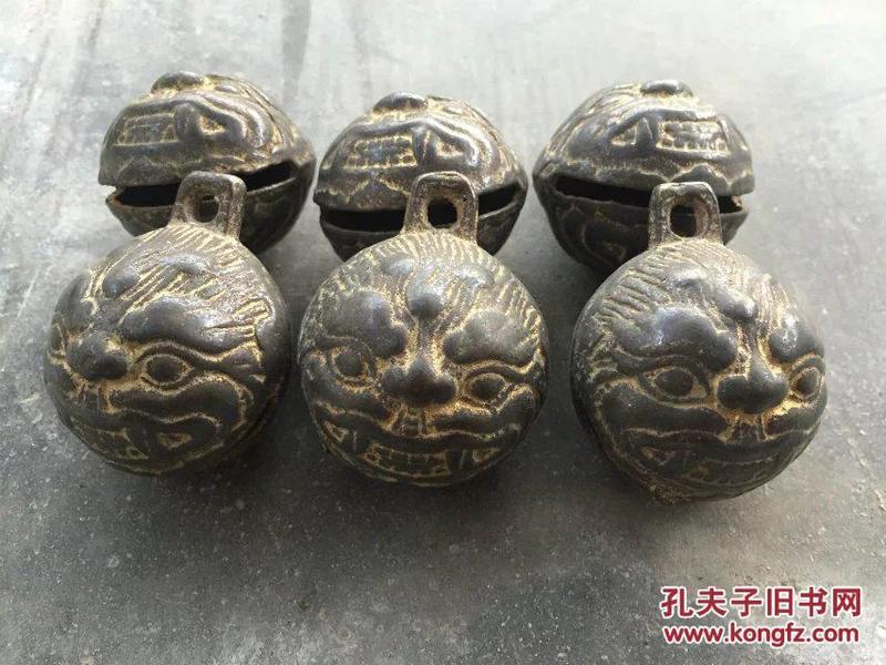 清代 铜鎏金虎头铃铛六个