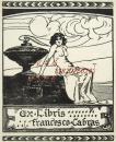 """意大利艺术家""""Duilio Cambellotti""""木刻人体藏书票——《海边裸女》1910"""