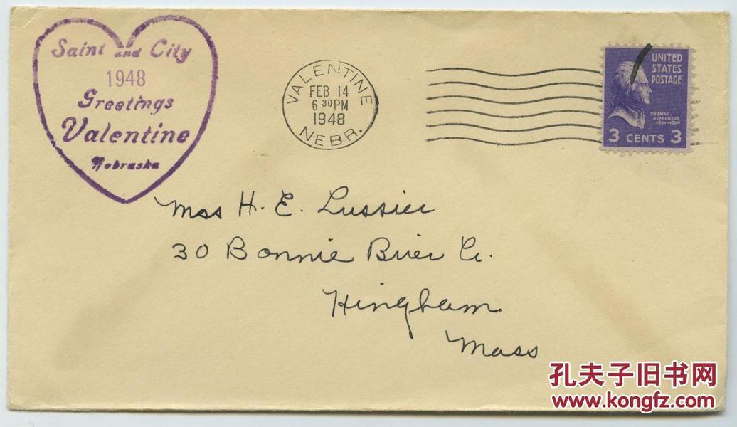1948年2月14日情人节纪念实寄封,从valentine(和情人节拼写一致地点)发出。