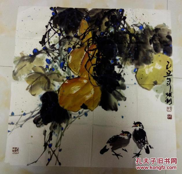 于一丁    绘葫芦小鸟    【68×68厘米】